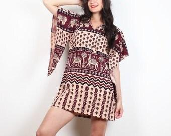 Vintage 70s Dress Beige Burgundy Navy Bohemian Hippie Dress Pointed Scarf Sleeves Dashiki Boho 1970s Festival Micro Mini Dress S M Medium