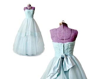 1950s Prom Dress, Blue Prom Dress, 50s Prom Dress, Cinderella Dress, Frozen Dress, Vintage Prom Dress, Blue Wedding Dress, Small