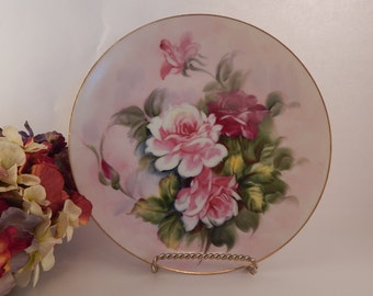 Porcelain Plate Vintage 1950's Lefton China Wall Hanging Hand Painted Pink Roses Feminine Floral Home Decor Collectible