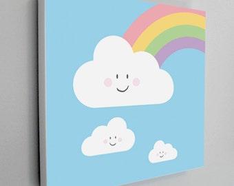 Rainbow Art Canvas, Nursery Art, Rainbow Cloud Art, Kids Art Canvas, Blue Sky, Rainbow, Cloud, Happy Cloud, Kids Wall Art - 12x12 or 20x20