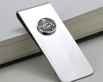 Stainless Steel Money Clip with Masonic Symbol-Free engraving