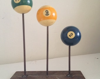 Vintage Pool Balls in stand, decorative