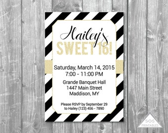 Sweet 16 Invitation, Black and White Party, Gold Sweet Sixteen, Sweet Sixteen Party, Printable Invitation, Digital Invitation, sixteenth