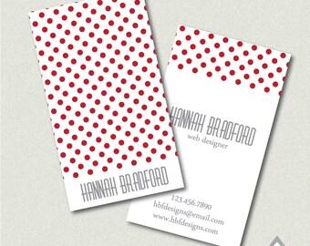 Red Polkadot Business Card, Printable Business Cards, Printable PDF, JPEG, Digital File, Red Business Card, Polka dot business card,mom card