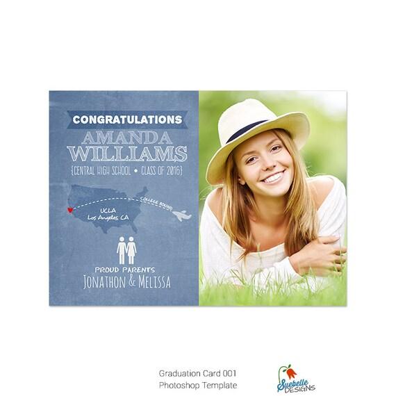Graduation Announcement Card Photoshop Template