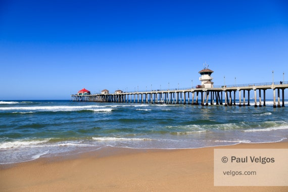 Huntington Beach Wall Decor : Huntington beach pier print wall art california by paulvelgos