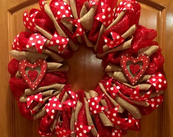 Large burlap red dots and hearts wreath