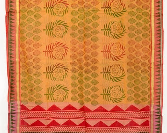 Vintage Indian Textile Printed Brownish Saree Crafting Fabric Drapery Sari TP3052