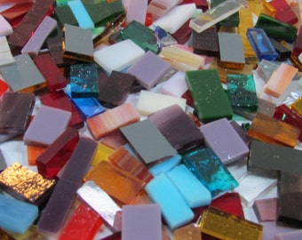 MIXED Size Glass Tile for Mosaic or Craft Projects 13 Oz