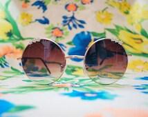 Round Lennon Brown Sunglasses Ombre Hippie Glasses - Lennon