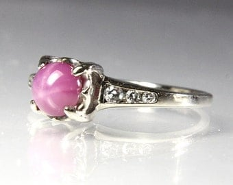Vintage White Gold Engagement Ring Size 4.75 Pink Star Sapphire