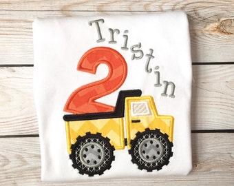 Boys birthday dumptruck embroidered shirt or onesie, Boys truck shirt, birthday name shirt, number shirt