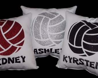 PERSONALIZED VOLLEYBALL pillow printed in non flaking glitter, gorgeous sports decor recognition gift  Team Discounts Available