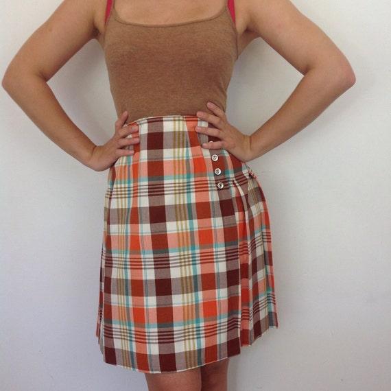 "mod skirt orange tartan miniskirt plaid kilt style wrap skirt pleated 1960s A line mini skirt UK 6 8 scooter girl 70s St Michael 25"" waist"