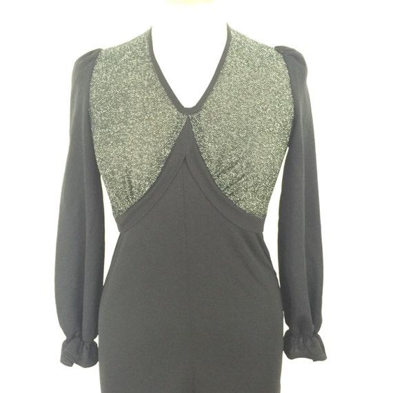 black dress maxi dress long sexy V neckline goth vintage 1970s disco Biba style boho hippy festival UK 12 vamp silver sparkle lamè