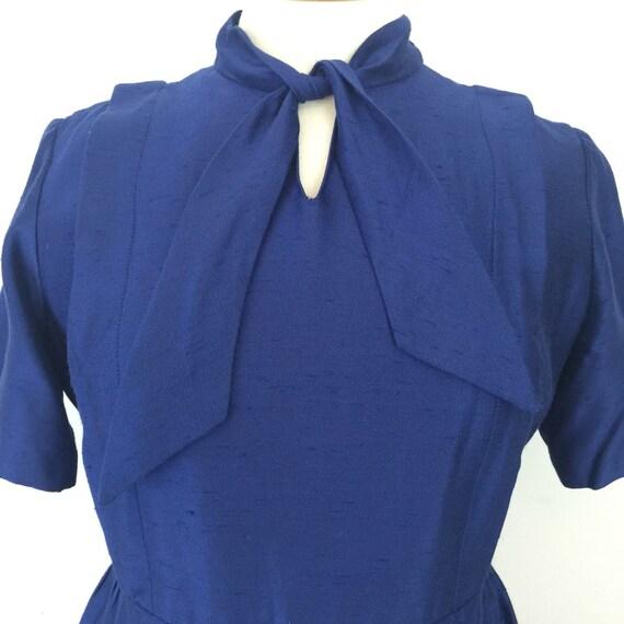mod dress rayon silk ink blue dress pussy bow tie neckline straight cut dress UK 16 US 12 short sleeves tailored 1960s dress handmade 60s