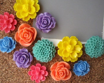 Thumbtacks, Bright Flower Pushpins, 12 pcs, Yellow, Coral, Pink, Blue, Office Supply, Bulletin Board Tacks, Wedding Decor, Housewarming Gift