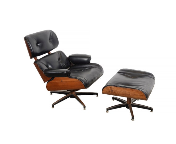 Eames black leather lounge chair and ottoman selig mid century - Selig eames chair ...