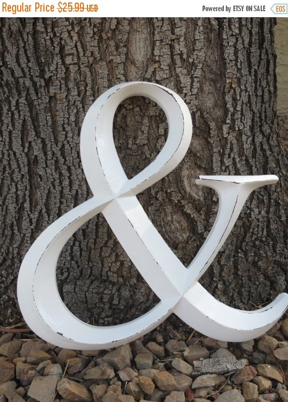 """ON SALE TODAY Ampersand Symbol / Resin """"And"""" Sign / Antique White or Pick Color/ Wedding Decor/ Office Nursery Mantle Decor/ Large Wall Lett"""