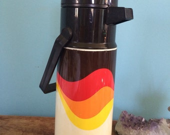 """Vintage 70's Thermos Brand Beverage Pump and Thermos, 13.5"""""""