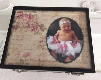 Stained glass baby girl memory keepsake shabby chic cottage chic box