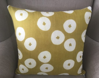 """Large Cushion Cover/Pillow in Doughnuts Mustard """"Muddy Work"""" by Tomotake for Kokka with an EST Linen Backing."""