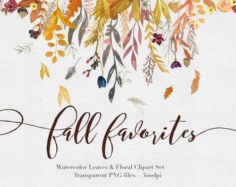 Fall Flowers  Watercolor  Clipart Files - High Res Transparent PNG - Hand Painted Digital Scrapbook elements - Instant download