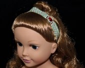 Doll Headband, Christmas Red Bling with Holly print Elastic.