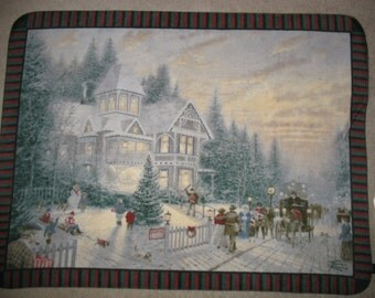 Thomas Kinkade Victorian Christmas Panel Fleece Throw Blanket