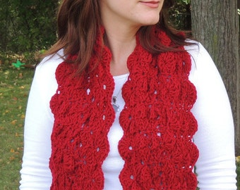 Crochet Red Scarf, Womens Accessories, Scarf Red, One of a Kind, Gift Idea, Handmade Scarf