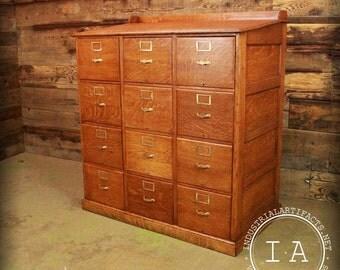 Antique Oak 12 Drawer File  Cabinet