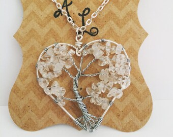 Crystal Tree of Life Heart Necklace, Tree of Life Pendant, Wire Jewelry, Wire Wrapped Crystal, Tree of Life Necklace, Wire Jewelry, Handmade