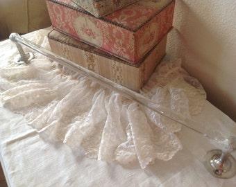 Vintage French farmhouse cottage boudoir glass towel rod