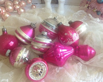 Shabby pink antique Mercury glass Christmas ornaments