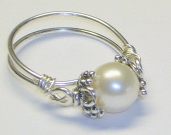Freshwater Pearl,  Purity Ring, Sweet Sixteen Gift,  Sterling Silver Handcrafted