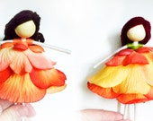 Autumn Fairy, Orange Ballerina Doll, No face doll, Colourful Flower Doll