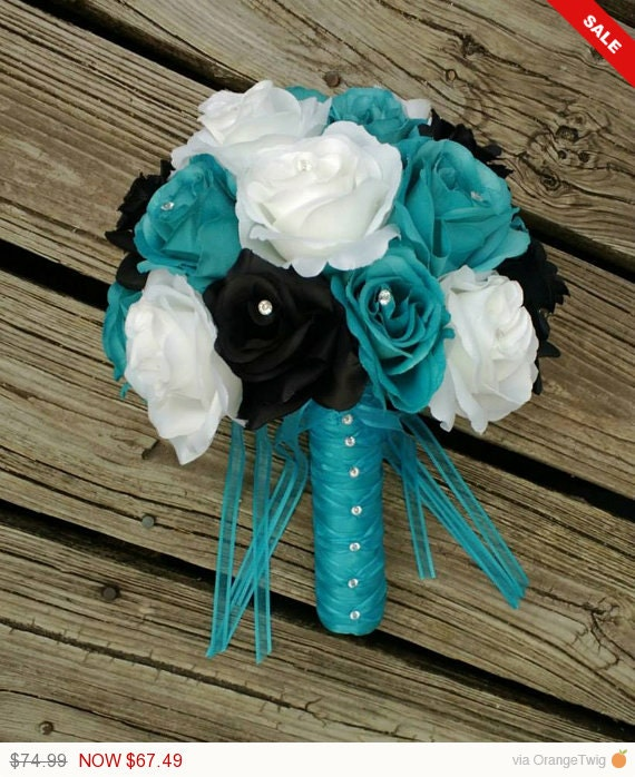 Malibu Blue Black White Rose Wedding Bouquet Malibu Blue