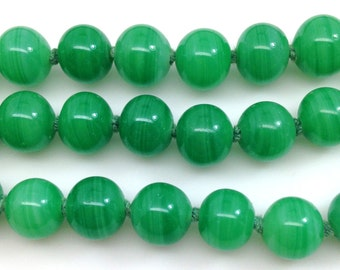 10 Vintage Green Jade Japan Round Striped Glass Beads 8mm