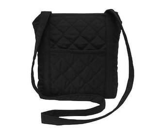 Zippered Cross body Bag/ Messenger Bag/ iPad Bag/ Quilted Bag/ Black. (Free Shipping)