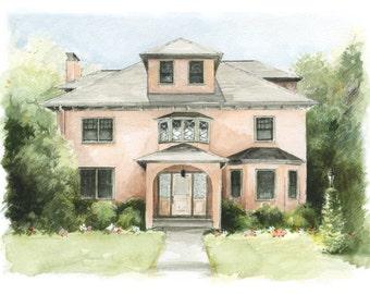 Custom House Portrait - original drawing - the perfect housewarming gift
