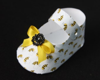 25 DIY Bumble Bee Honey Bees Baby Shoe Shaped Party Favor Boxes Shower