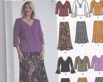 Simplicity 5469 Vintage Pattern Womens Tops and Skirts in 6 Variations SIze 18,20,22,24 UNCUT