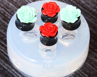 Ear gauges and ear tunnels clear silicone mold for Make at home resin plugs 2 pair. Size 12mm 14mm.(A81) Free USA shipping!