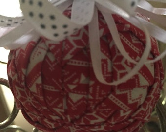 "3"" Quilted Ball Ornaments - Christmas Sweater Fabric"