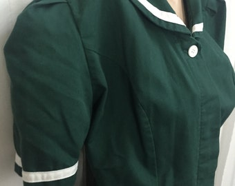 Vintage Angelica Waitress / Maid Uniform.1980's.LARGE.Short sleeve.Green with white.Uniform dress.Full button front.Order taker.Diner.