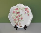 Vintage Serving Plate White / Pink Dogwood Hand Painted CA Pottery