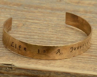Life Is A Journey Brass Hand Stamped Cuff Bangle Bracelet UK Seller