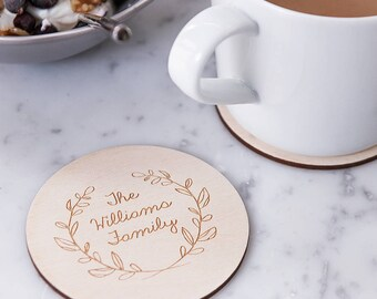 Engraved Wreath Drinks Coaster - Modern Coasters - Housewarming Gift - Wedding Coasters - Wooden Coasters - Rustic Homeware - Coaster Sets