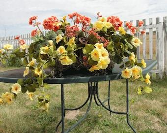 "Window Box Silk Flower Arrangement Orange Geraniums Yellow Azaleas for 18"" Box, extends 24"""