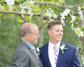 Wedding Tie Pink and blue plaid   Men's skinny tie  Wedding Ties  Necktie for Men FREE GIFT